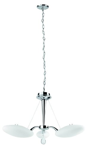 Lite Source LS-19383C/FRO Rey 3-Lite Ceiling Lamp, Chrome with Frosted Glass Shade