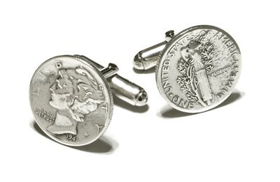 Mercury Dime cufflinks with sterling silver fittings. Made in the USA