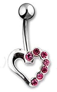 "14g Surgical Steel Hollow Heart Sexy Belly Button Navel Ring Body Jewelry Piercing with Pink Gems Non Dangle 14 Gauge 3/8"" Nemesis Body JewelryTM"