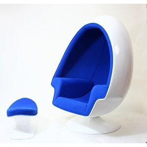 Lexmod eero aarnio alpha shell egg chair and ottoman in for Buy canape shells