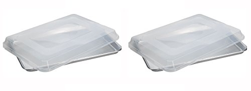 Nordic Ware Set of 2 Natural Aluminum Baker's Half Sheets With Lids. Each Pan is 16.25 Inches Long by 11.25 Inches Tall by 1 Inch Thick (Nordic Ware Half Sheet Baking Pan compare prices)