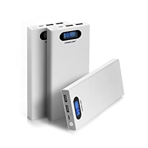 Poweradd™ Pilot S 12000mAh Portable Charger Dual USB External Battery Power Pack Smart LCD Display for iPhone 6 Plus 5s 5c 5, iPad Air 2 Mini 3, Galaxy S6 S5 S4 Note 4 3 2, Nexus, Motorola, Blackberry, HTC One M9, LG G3, other Phones and Tablets - White