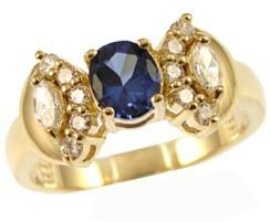 14k Yellow Gold, Elegant Classic Design Ring with Lab Created Oval Shape Navy Blue Colored Stone