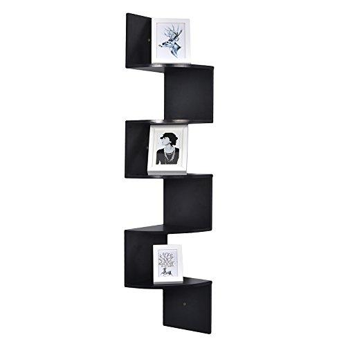 WELLAND Large 10 x 10 Inches 5 Tiers Corner Wall Shelf, Black