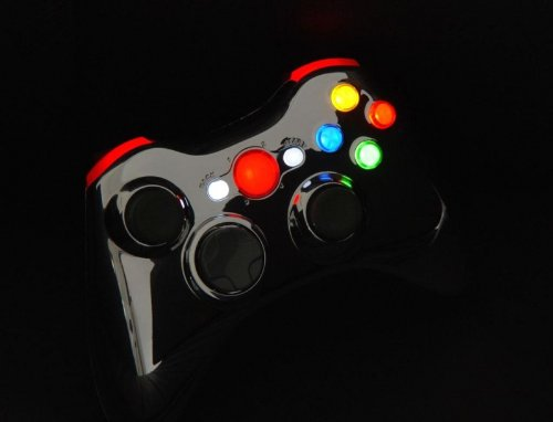 Red Chrome Xcm Led Lighted Xbox 360 Wireless Controller Shell (Custom Mod)