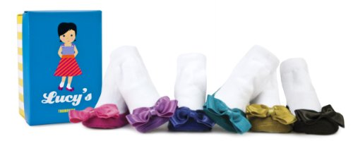 Trumpette 6 Pairs Of Lucy's Big Bow Jewel Toned Socks In A Gift Box, Assorted, 0-12 Months
