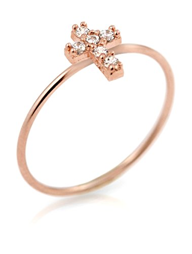 Rose Gold Plated Pave Clear Cz Cross Stackable Ring, Size 8