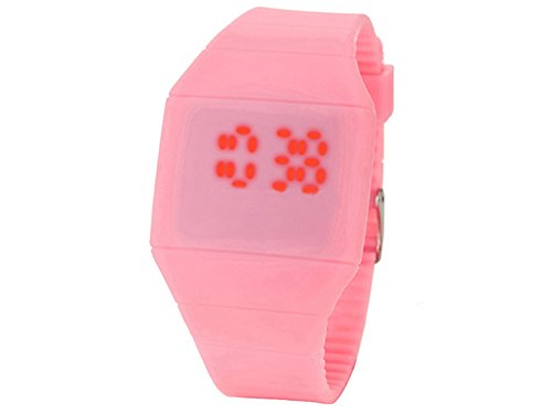 Moonar®Unisex Ultra Thin Cool Red Led Touch Screen Digital Display Rubber Wrist Watch(Pink)