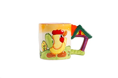 """Brew Ha Ha Colorful Animal Coffee Mug. Chicken Makes """"Cluck!"""" Sound When You Pick It Up. Great Gift For Coffee Lovers."""