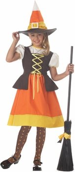 Girl's Sweet Candy Corn Witch Halloween Costume (Size: Large 10-12)