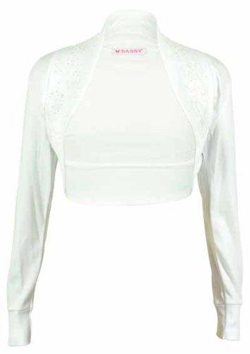 Ladies Plus Size Long Sleeved Bead Stretch Top Womens Bolero Crop Cardigan Shrug