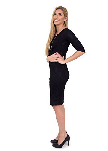 Navz Modest Straight Classy Lace Black Knee Length Dress with 3/4 Sleeves