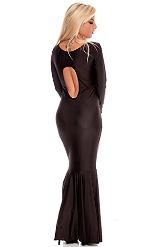 Lolli Couture Cut Out Back Long Sleeve Scoop Neck Long Length Maxi Dress Black L front-508300