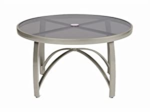 "Wyatt 48"" Round Umbrella Dining Table Finish: Hammered White, Table Top Material: Smoked Glass"