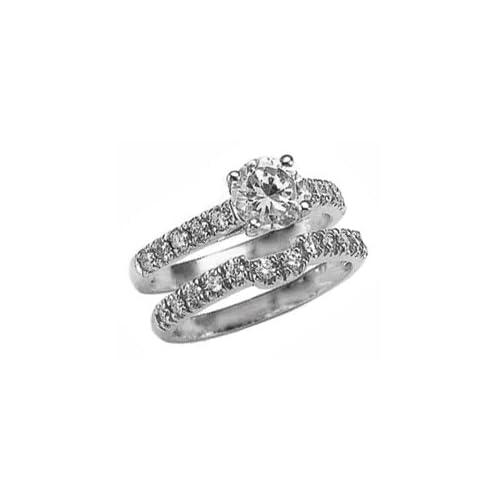 2.85 carat white gold DIAMOND RING wedding band set