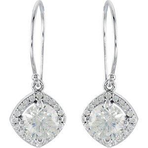 14K White 2 1/5 Ct Tw Earrings Pair 2 1/3 Ct Tw Diamond Earrings