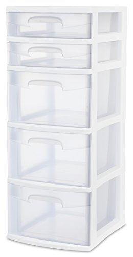 sterilite-28958002-5-drawer-tower-white-frame-with-clear-drawers-2-pack