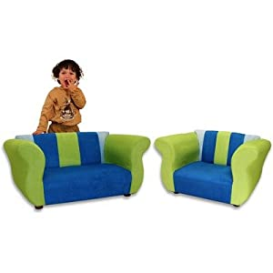 Kids Fancy Microsuede Sofa And Chair Set In Blue Green from Fantasy Furniture