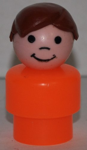 Vintage Little People Boy (Brown Plastic Hair & Orange Plastic Base) (Peg Style) - Replacement Figure - Classic Fisher Price Collectible Figures - Loose Out Of Package & Print (OOP) - Zoo Circus Ark Pet Castle - 1
