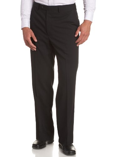 Louis Raphael LUXE Men's Washable 100% Wool Solid Flat Front Hidden Extension Dress Pant,Black,33x30
