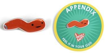 Appendix Lapel Pin I Heart Guts Feel It in Your Gut