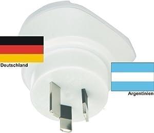 Design Reisestecker Adapter für Argentinien auf Deutschland 230V, Travel-Umwandlungsstecker AR-D