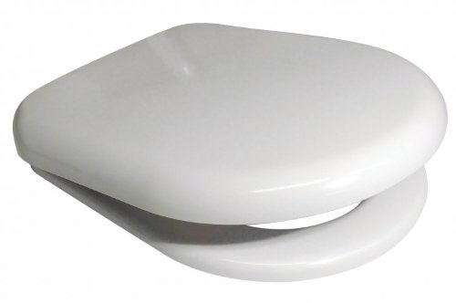 Euroshowers WHITE D SHAPE Soft Close Toilet Seat with Top Fix / Blind Hole Fittings and PUSH BUTTON Quick Release Hinges
