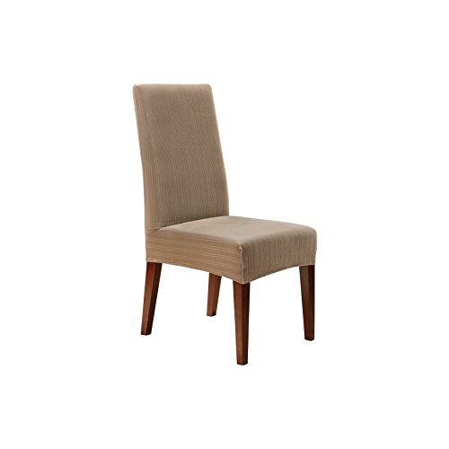 Sure fit stretch pinstripe shorty dining room chair for 6 dining room chair covers
