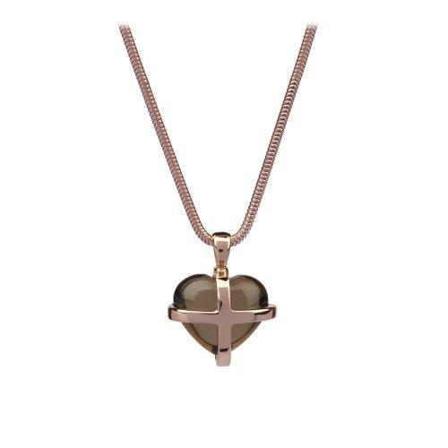 9ct Pink Gold & Smoky Quartz Medium Cross Heart Pendant - 46cm Snake Chain