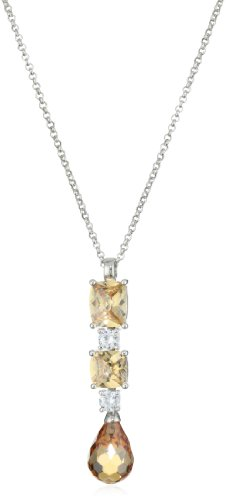 Giorgio Martello Sterling Silver Rhodium Plated Linear Champagne Cubic Zirconium Drop Necklace