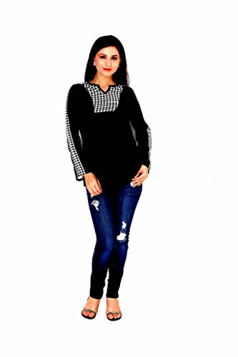 Damsel Black Color High Quality Georgette Top with Front Printed Yoke, Size : M