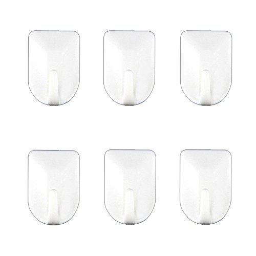 Daixers Powerful Adhesive Hooks,Easy To Install & Use - Strong & Durable 6-Hook (Max Load 4.4 pounds) (M) (Metal Refrigerator Shelf Clips compare prices)