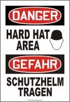 ENGLISH/GERMAN DANGER HARD HAT AREA (W/GRAPHIC) Dura-Plastic Sign