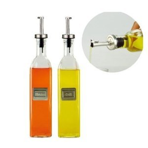 Cruet, Olive Oil & Vinegar Bottle Set, Seasoning Pot, Glass Body and Stainless Steel Mouth, Europe Design