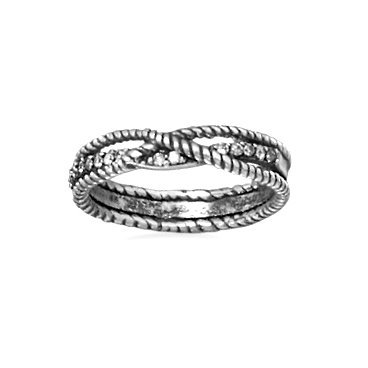 Braided Rope Band Ring Antiqued Sterling Silver with CZ Cubic Zirconia