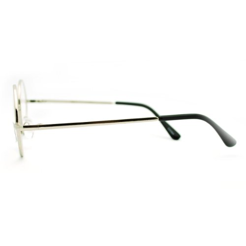 Silver Round Circle Clear Lens Eyeglasses Small Size Thin ...