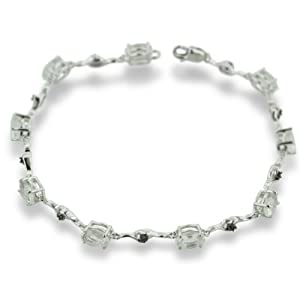 4ct Green Amethyst and Black Diamond Bracelet In Sterling Silver, 7 Inches
