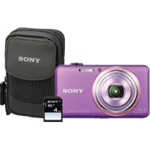 Sony Cyber-Shot DSC-WX70BDL 16.2MP CMOS Digital Camera with 4 GB Memory Card and Case (Violet) (2012 Model)
