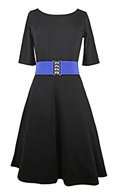 Modeway Women Half Sleeve Fit And Flare A Line Knee Length Skater Dress(No Belt)