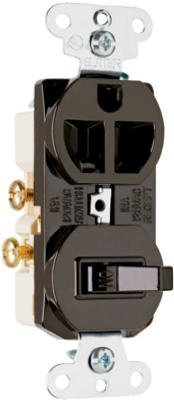 Pass & Seymour 691 Pole 3 Wire Grounding Combination Switch And Outlet, 125V, 15-Amp, Brown