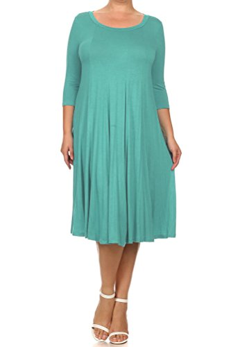 Pastel by Vivienne Women's A-Line Trapeze Midi Dress Plus Size X-Large Robin Egg