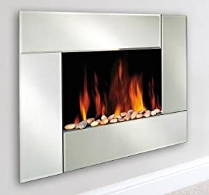 Wall Mounted Electric Fireplace San Remo Mirror Front Garden Outdoors