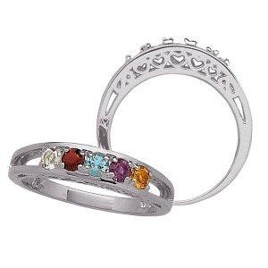 platinum plated s birthstone ring