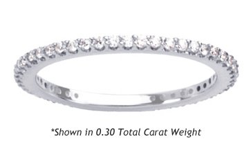 Women's Diamond Eternity Band Shared Prong Round Cut ( 0.30 Total Carat Weight | GH-I1 Quality | Platinum ) Finger Size - 4.0