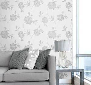 Fine Decor Torino Floral Wallpaper - Silver by New A-Brend