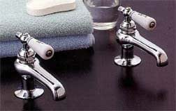 Antique Reproduction Faucet Set W Porc Levers Polished Nickel Touch On Bathroom Sink