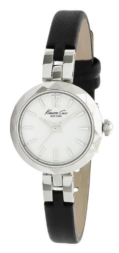 Kenneth Cole Women's Quartz Watch with White Dial Analogue Display and Black Stainless Steel Strap KC2644