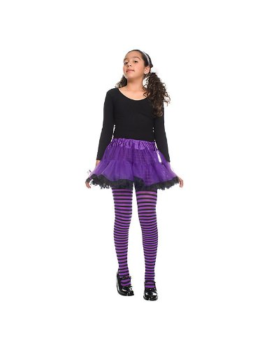 Purple and Black Striped Girl's Tights