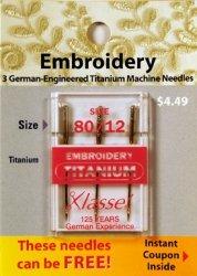 Sale!! Tacony Corporation Klasse Titanium Embroidery Machine Needles-80/12 3/Pkg