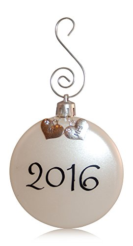 Couple's First Christmas Together Wedding Ornament 2016 - Mr and Mrs Charms with Silver Swirl Ornament Hook in Organza Gift Bag (Mr and Mrs)